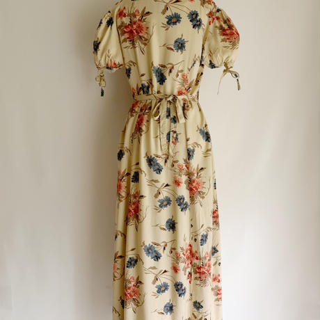 Euro Vintage Flower Print Front Buttons Long Dress