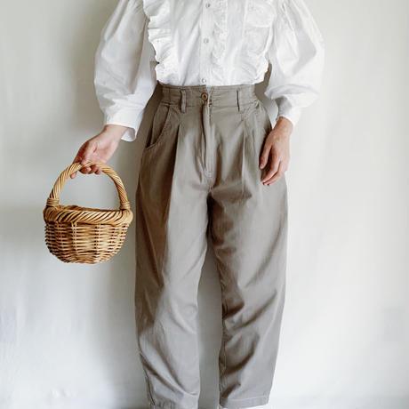 Euro Vintage Cotton Tucked Pants