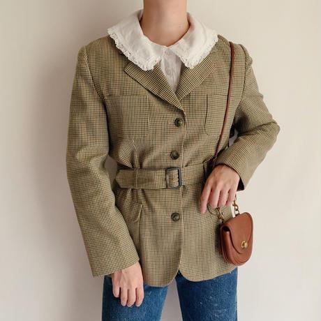 Euro Vintage Plaid Waistbelt Jacket