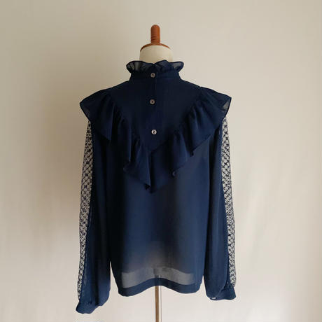 Euro Vintage Stand Collar Lace Design Blouse