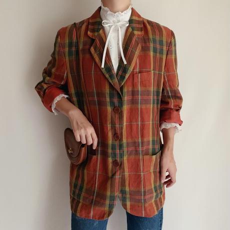 Euro Vintage Plaid Linen Jacke