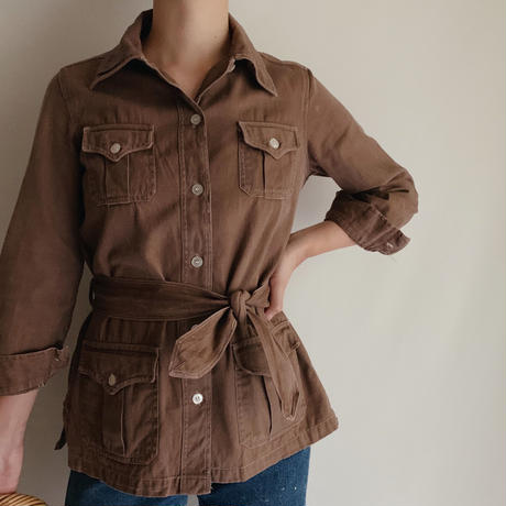 70's Euro Vintage Cotton Work Shirt Jacket With Belt