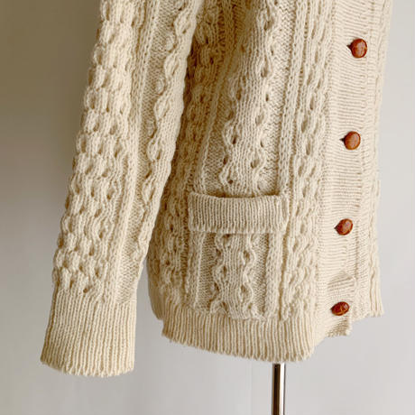 Irish Popcorn Knit Cardigan With Collar