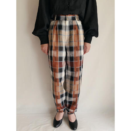 80's Dead Stock Euro Vintage Plaid Tuck Pants