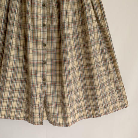 Euro Vintage Plaid Cotton Flare Long Skirt