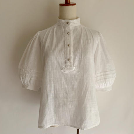 Euro Vintage Stand Collar Pull Over Design Blouse
