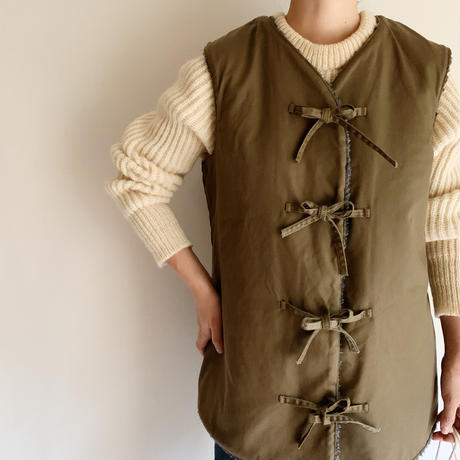 Euro Vintage Military Boa Vest With Ribbons