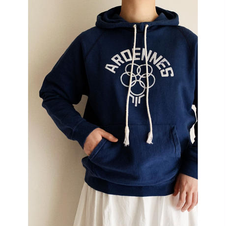 70's French ARDENNES Flock Print Hoodie