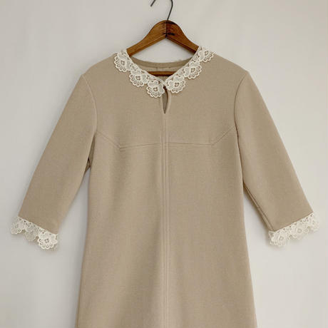 70's - 80's Euro Vintage Flower Lace Collar Dress