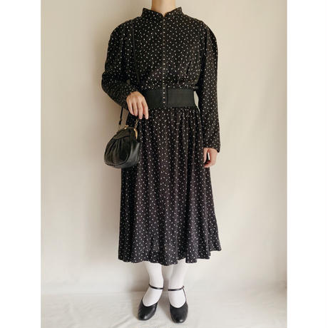 Euro Vintage Leaf Print Waist Band Dress