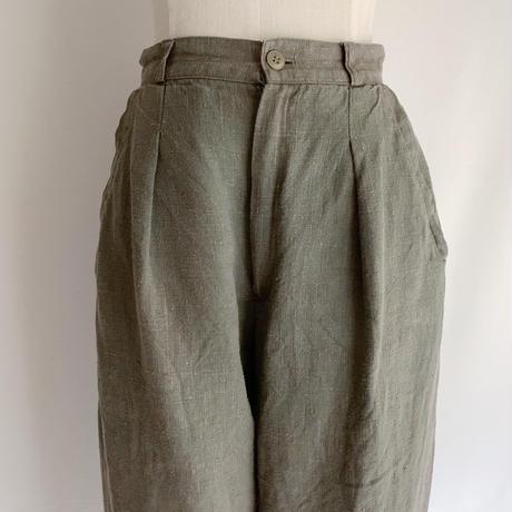 80's USA Linen Tucked Pants