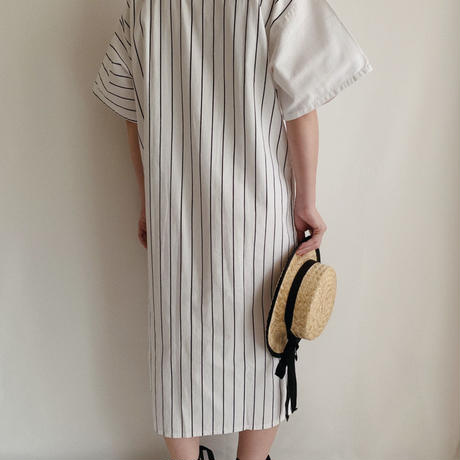 Euro  Vintage Stripe Dress With Patch Pocket