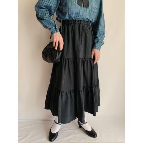 Euro Vintage Black Tiered Volume Skirt