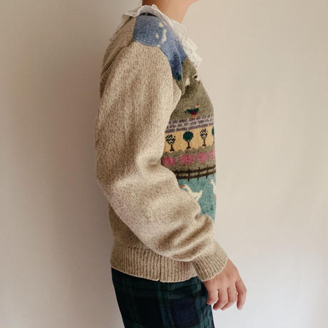 "80 's - 90's "" Eddie Bauer ""  Country Knitting Pattern Sweater"