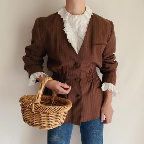 Euro Vintage Plaid Waist Shirring Jacket