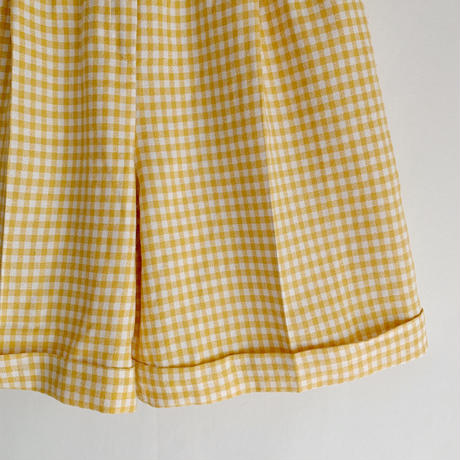 Euro Vintage Gingham Check Half Pants