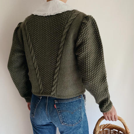 Euro Vintage Volume Sleeve Knit Cardigan