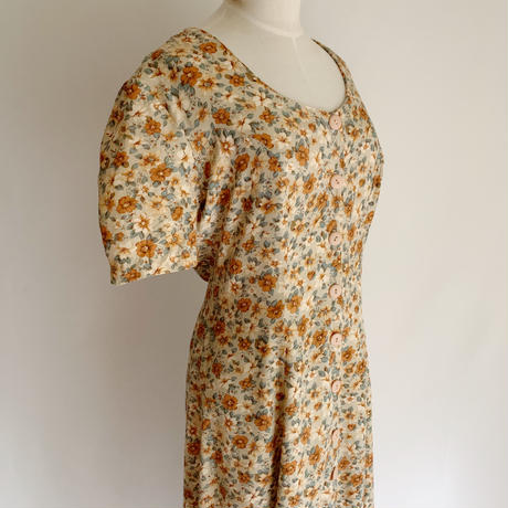 80's All Over Flower Print Rayon Long Dress