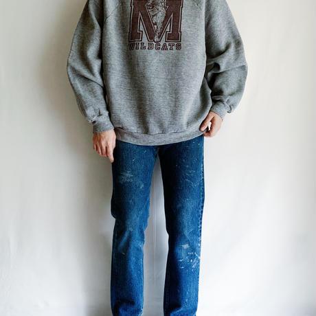 "70's - 80's USA "" WILDCATS "" Printed Sweat Shirt"