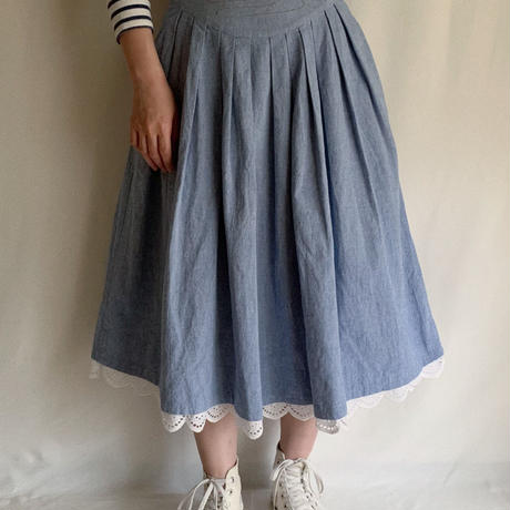 80's Euro Vintage Cotton Duck Embroidery Skirt