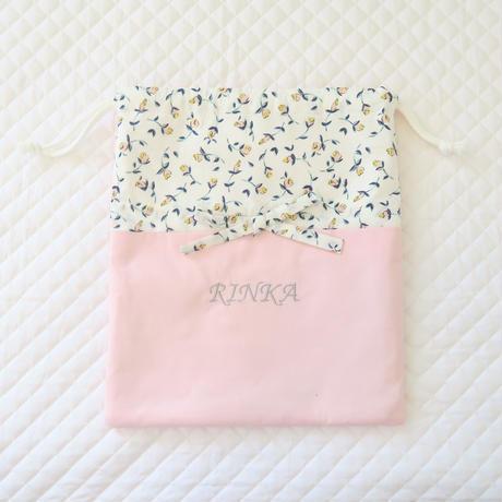 ひもリボンの可憐な巾着袋(ピンク)