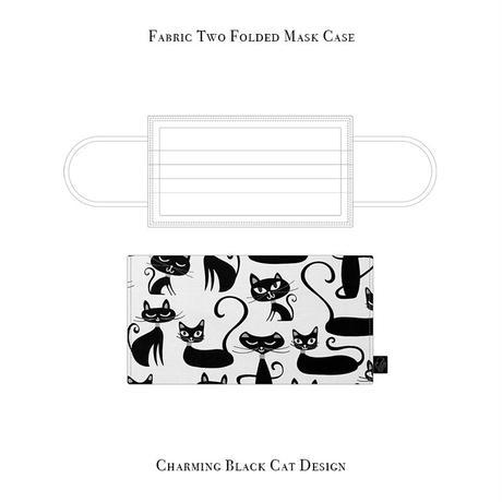 二つ折り マスクケース / チャーミング ブラックキャット デザイン