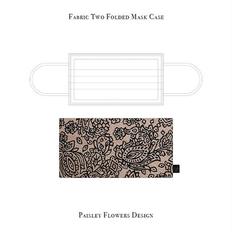Fabric Two Folded Mask Case / Paisley Flowers Design