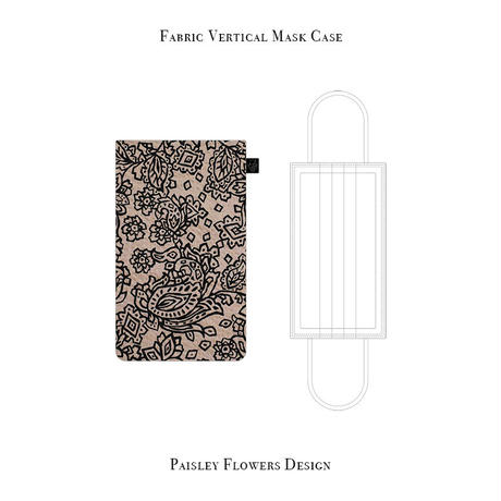 Fabric Vertical Mask Case / Paisley Flowers Design