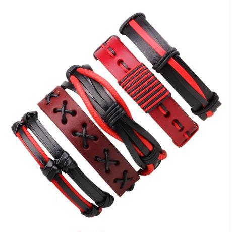 【5点セット】黒・紅 レザーブレスレット