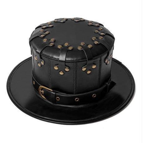 革と釘の黒い紳士礼帽 レザーハット  ショット