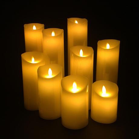 リアル蝋燭型(ロウソクガタ)LEDライト 9本セット 10~30cm