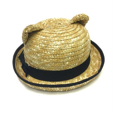 動物耳の麦わら帽子