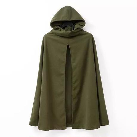 【グリーン・ブラック】ツイード生地 フード付きポンチョ