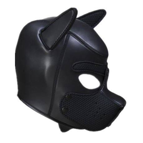 【黒】犬類マスク 立体造形 軟質ネオプレン製