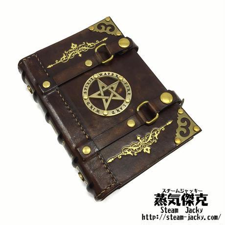 【A6サイズ】魔導書風手帳 革製ページ式ポーチ付き