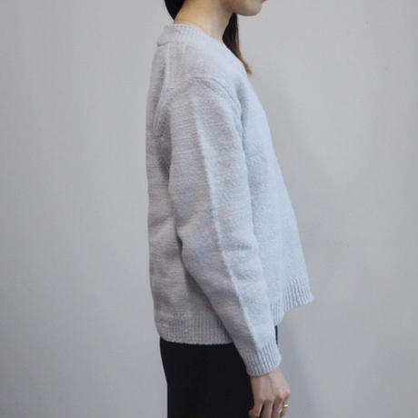 【twine】Vネックコットンニット  / ライトグレー