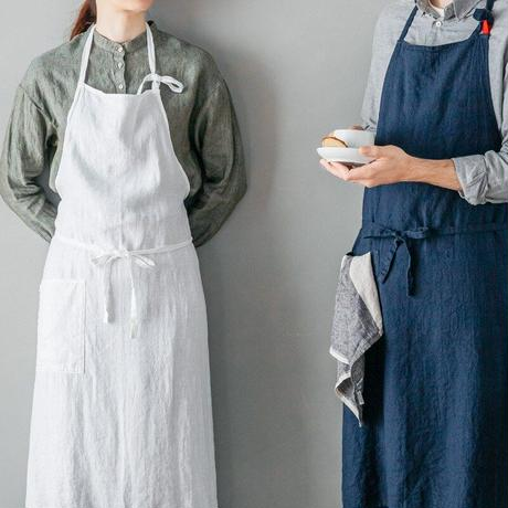 リネンフルエプロン マノン<ブラン>A297【リーノ・エ・リーナ/Lino e Lina】 エプロン 女性用 ガーデニング 料理教室 母の日 シンプル
