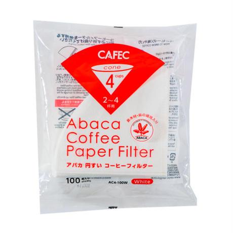 CAFEC Abaca アバカ 円すいコーヒーフィルター 2~4杯用 100枚入り 3個パック AC4-100W JHDC認定
