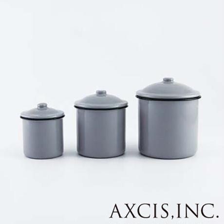 アクシス キャニスター チャコールグレー3Pcセット ホーロー保存容器 axics