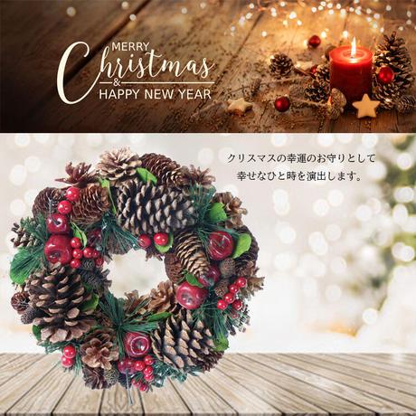彩か(Saika)Large Pinecone & Apple Wreath クリスマスリース リボン CGX-326 32cm ナチュラル 玄関インテリア