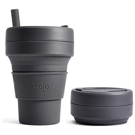 stojo ストージョ BIGGIE 16oz/470ml シリコン タンブラー 折り畳み 折りたたみカップ グランデサイズ 大 ストロー付き 蓋付き エコ