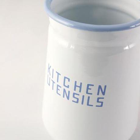 Homestead ホーロー ユーテンシルホルダー ホワイト HS165 アンティーク仕上げ お箸 調理用品立て カトラリースタンド 琺瑯 AXCIS