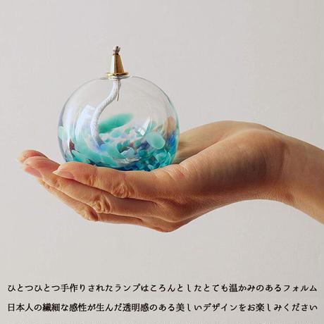 ADERIA (アデリア) 津軽びいどろ オイルランプ 青空 若葉 最大7×高さ7.5cm 日本製 ガラス細工