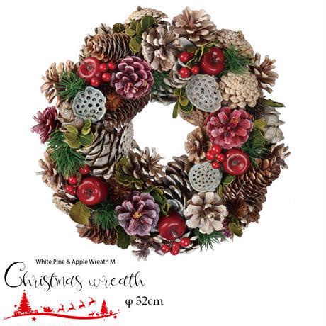 彩か(Saika)White Pine & Apple Wreath M クリスマスリース リボン CGX-322M 32cm ナチュラル 玄関インテリア