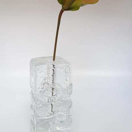 1960's~70's 西ドイツ Ingrid製 OPアート ガラス製の一輪挿し L(cube)大/GR044