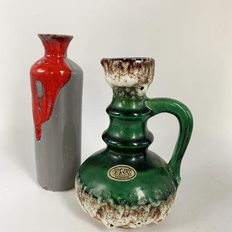 1960's~70's otto keramik グレー×レッド fat lava スモールフラワーベース /WK323