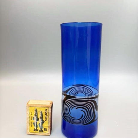 1960's~70's DDR(東ドイツ) Lauschaglas 吹きガラスベース ブルー×ブラックブラウン サイクロンチーフ レアデザイン/GR200