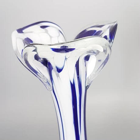 イタリア ムラーノグラス/ マーブルグラスベース BLUE&white/GR140
