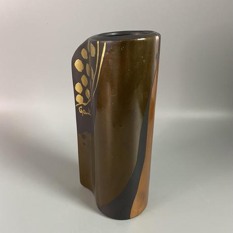 1980's ポストモダンなモチーフのブラウンの花瓶 /WK328
