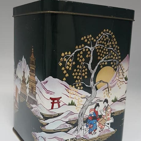 1960's イギリス製 ジャポネスクヴィンテージ缶・紅茶、コーヒー入れ ダークグリーン  BD012